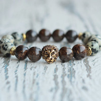 mens bracelet lion bracelet beaded bracelet african bracelet dark brown bracelet men jewelry gift for husband Energy Bracelet stone animal
