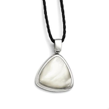 Stainless Steel Polished Mother of Pearl w/2in ext Fabric Cord Necklace