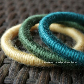 Three Yarn Wrapped Bangle Bracelets - Yellow, Dark Green, and Dark Blue