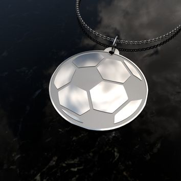 Soccer Ball - football, sports sterling silver pendant necklace