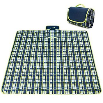 Picnic & Outdoor Extra Large Blanket For Outdoor Water-Resistant Handy Mat Tote Spring Summer Striped for the Beach,Camping on Grass Waterproof Sandproof (78'' x 57'', Blue Plaid)