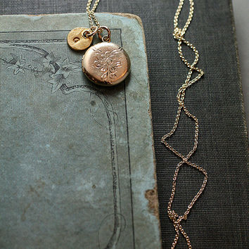 Vintage Gold Filled Locket Necklace, Small Round Flower Engraved Pendant w/ Initial Charm - Blossom
