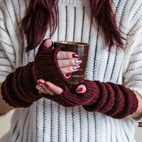 EXTRA LONG Fingerless Gloves, Wool Mittens for Her, Christmas Gift For Women, Winter Knitted Gloves, Winter Arm Warmers