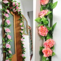Artificial Plants Green Leaves Vine Simulation Cane Adornment Flowers Garland Home Wall Party For Decoration Rose Vines 2.4m