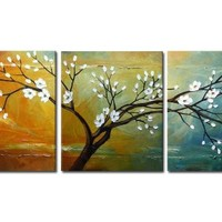 "Wieco Art ""Full Blossom"" Hand-Painted Modern Framed Floral Oil Paintings on Canvas Wall Art"