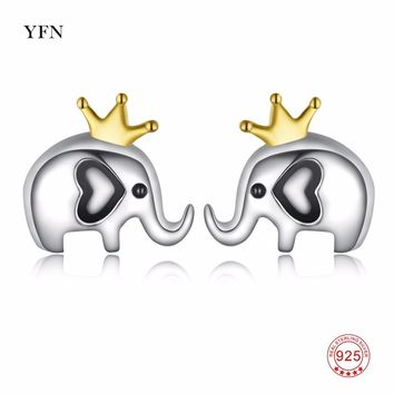 PYTZ0006-E YFN Genuine 925 Sterling Silver Earrings Lovely Cute Elephant Stud Earring Charming Fashion Jewelry For Women