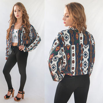 Womens Vintage Aztec Jean Jacket M L | Southwestern Denim Jacket | Boho Tribal Coat Cropped Waistcoat Hipster Native American Western Jacket