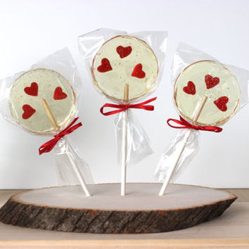 Wedding Lollipops, Heart Lollipops, Hard Candy Lollipops, Party Favors, Wedding Favors, Sweet Caroline Confections, -Set of Six