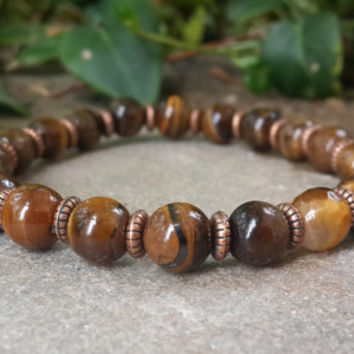 Mens Mala Bracelet, Tiger Eye Bracelet, Prosperity Bracelet, Meditation Yoga Japa Mala Jewelry for Men, Heart Chakra Bracelet