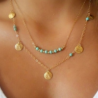 Turquoise and Coin Layered Bar Necklace Wardrobe