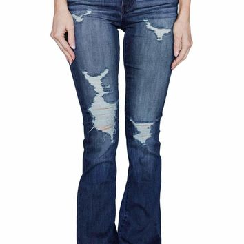 Dark Blue Ripped Denim Boot Cut Jeans