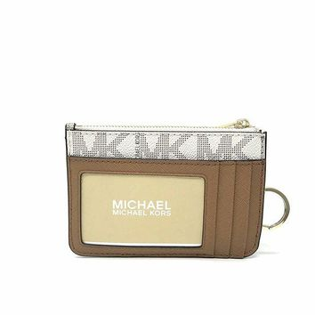 DCK4S2 Michael Kors Center Stripe Small Top Zip Coin Pouch Card Case with ID Window