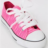 low top sneaker with washed neon glitter zebra print - 1000047691 - debshops.com