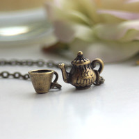 A Tea Pot and Tea Cup Lariat Necklace - Whimsical, cute, adorable. Holiday Gifts. Tea Lovers. Mad Hatters Tea Party.