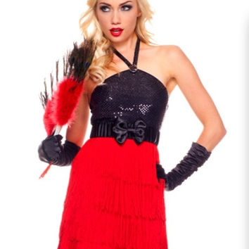 Halter Firey Flapper Costume Set