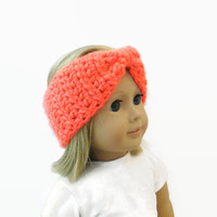 "Neon Coral 18"" Doll Headband Accessories Turban Style"
