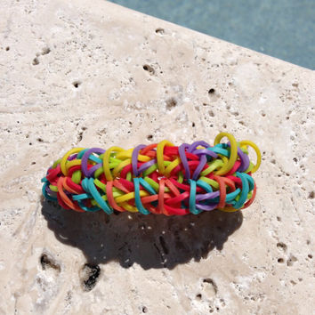 Zippy Chain Rainbow Loom Bracelet Rainbow With Optional ADD ON Charm Football Soccer Baseball Basketball Cheer Tennis  Yoga