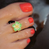 Toe Ring, Polymer, Green Flower, Petals, Bead Toe Ring