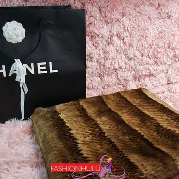 CHANEL Brown ORYLAG FUR & CASHMERE THROW Blanket