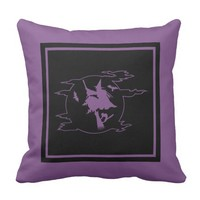 Halloween Flying Witch Purple and Black Pillow