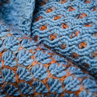 Knitted cowl, merino wool tube scarf, reversible cowl, snood,  in blue colour 'Beehive'