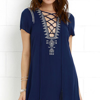 Mi Casa Navy Blue Lace-Up Dress