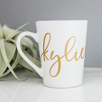 Personalized Mug, Gold Custom Coffee Mug, Bridesmaid Gifts, Gift for Her, Bridesmaid Mug, Calligraphy Unique Coffee Mugs, Cute Coffee Mugs