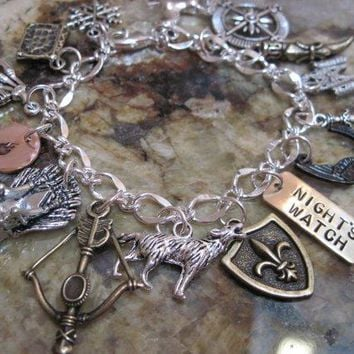 Game Of Thrones Charm Bracelet   Winter Is Coming Not Today You Know Nothing A Song Of Ice And Fire