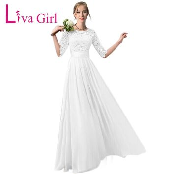 Liva Girl Long Wedding Party Dress 2018 Women White Bridesmaid Half Sleeve Pleated Chiffon Maxi Dress With Lace Dresses Autumn