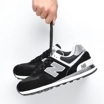 New balance abric is breathable n leisure sports Couples forrest gump running Black-1