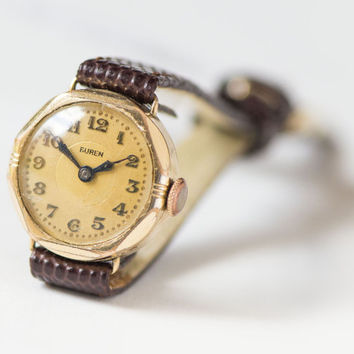 Antique woman's watch Buren, lady's watch gold plated mechanical, Art deco woman's watch rare, unique gift watch, premium leather strap new