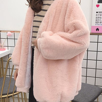 Thick Faux Fur Solid Color Long Sleeve Oversized Coats - Banggood Mobile