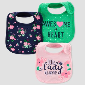 Baby Girls' 3pk Little Lady Bibs - Just One You® made by carter's Navy/Pink One Size
