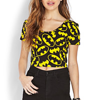 FOREVER 21 Batman Crop Top Black/Yellow