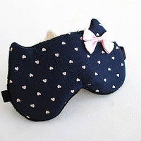 Bow Eye mask, Sleep mask, eye sleep mask, Kitty eye mask, Cat eye mask, Kitty sleep mask-Hearts