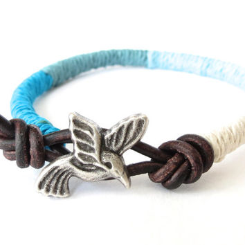 Hummingbird bangle ombre style in peacock, sage, seafoam and cream, hemp and leather wrap bracelet