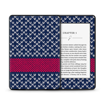 Navy Knitted Sweater With Rosy Strip Skin for the Amazon Kindle Tablet