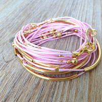 Pink and Gold Cord Wrap Bracelet / Necklace