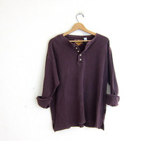 vintage long sleeve pruple thermal top. button front henley. long underwear shirt