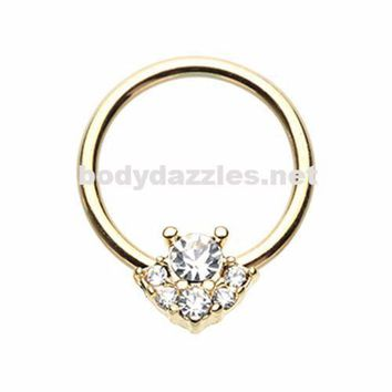 Golden Posh CZ Steel Captive Bead Ring Cartilage Tragus Nipple Ring Nipple Bar 16ga