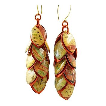#82 Orange Fresco Extra Long Dangle Earrings - Ear Wires will be