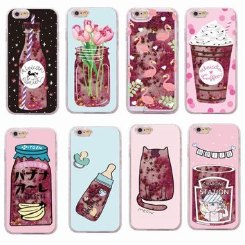 Glitter Liquid Summer Unicorn Coffee Milk Bottle Flamingo Ice Cream Hard Case Liquid For iPhone 7 7Plus 6 6S 6Plus 5 8 8Plus X