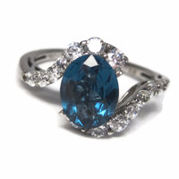 Blue Green to Blue Color Change Spinel Engagement Ring Size 7