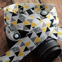 dSLR Camera Strap - Grey and Yellow Geometric Triangle - Grey Camera Strap dSLR