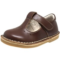 Livie & Luca Girl's Oak Leather Acorn Squirrel T Strap Hook and Loop Mary Jane Shoes Brown