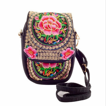 Ethnic Boho Embroidered Vintage Pink Flowers Canvas Beach Coin/Phone Bag
