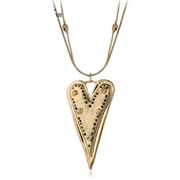 Vintage Long Statement Necklace Antique Gold/Silver Plated Two Layers Heart Shaped