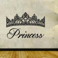 Princess and Crown Design Vinyl Wall Decal Sticker