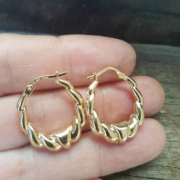 Vintage 9ct Gold Hoop Earrings , Creole , Real Yellow Gold , Ladies Hoops , Unoaerre Italy , Gifts For Her