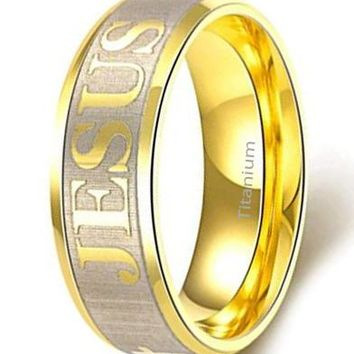 CERTIFIED 7MM JESUS Pattern 316L Titanium Stainless Steel Promise Beveled Edge Ring